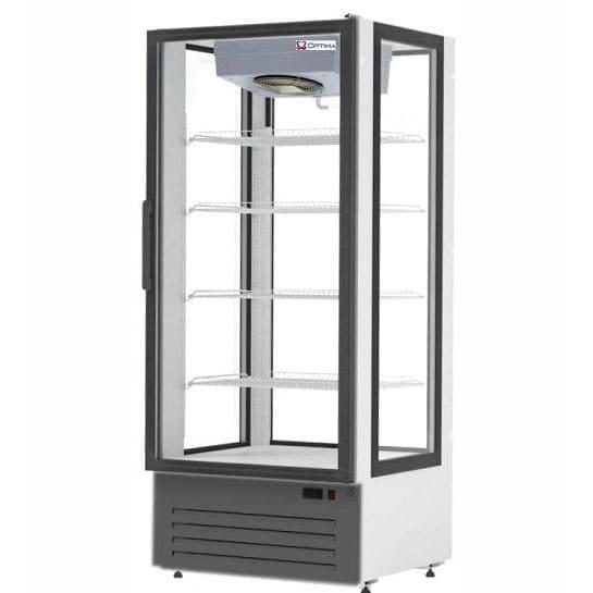 Аренда холодильника 750 л Optiline обзорный, среднетемпературный режим +2 +10 градусов, высота 1940 мм, бело черный