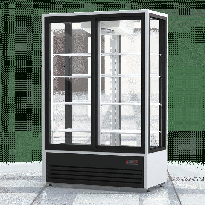 Аренда холодильника 1120 л Премьер PR обзорный, среднетемпературный режим +2 +10 градусов, высота 2040 мм, бело черный