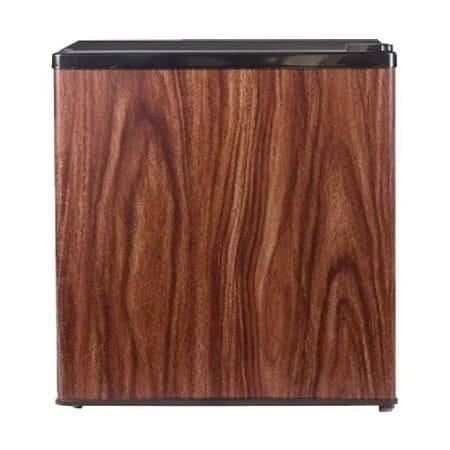 Барный холодильник 50 л. в аренду Bravo, 47 л. холодильная камера, 3 л. морозильная камера, черный сбоку и сверху, дверца цвет дерево.