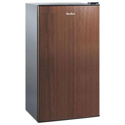 Холодильник в аренду барный Tesler 95 л., объем холодильной камеры 85 л., морозильное отделение 5 л., черный и дерево.