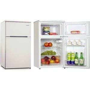 Барный двухкамерный минихолодильник в аренду 95 литров, 65 л. холодильная камера, 30 л. морозильная камера, белый.