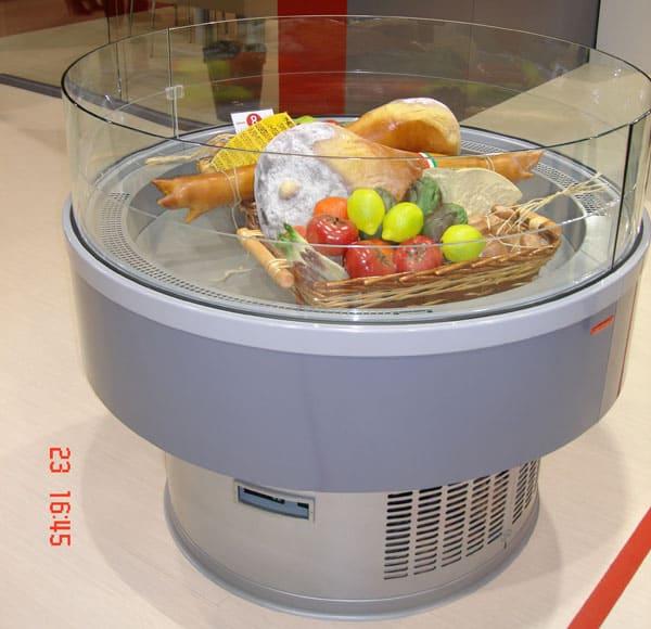 Холодильная витрина в аренду Arneg VIP круглая, температурный режим +2...+10C, открытая выкладка, рекламная, для выставки и магазина